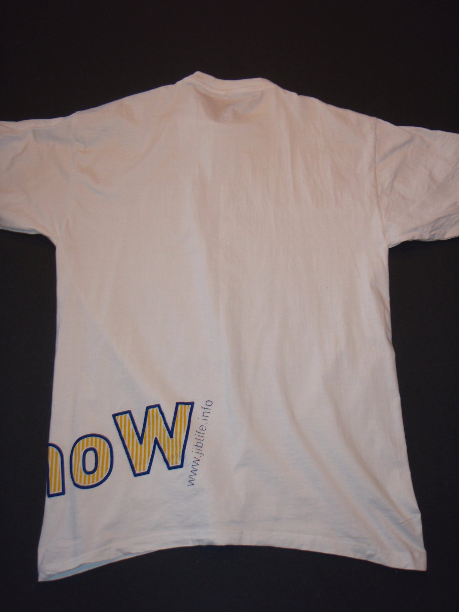 Back of white JLUS tee
