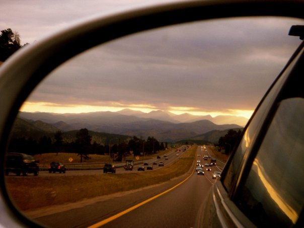 Denver bound. summit county in my rear view