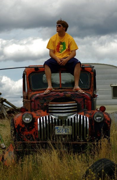 Sitting on a truck in Idaho