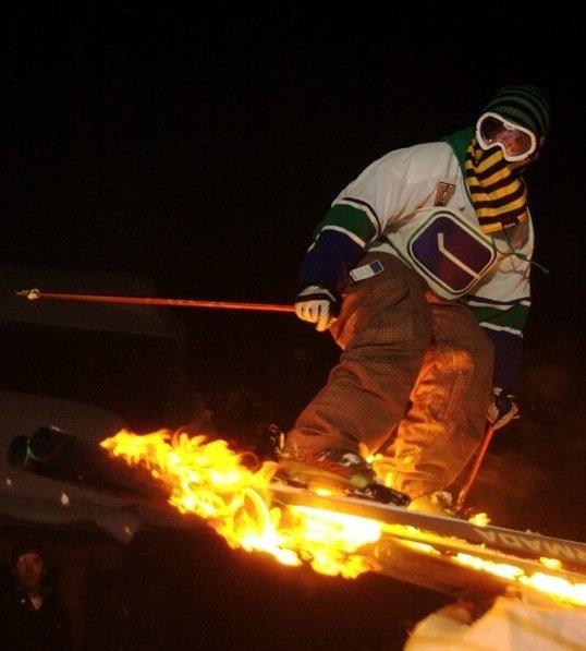 Bbq rail.  Gasoline + fire = mayhem