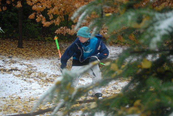 Fall skiing in Blake's yard