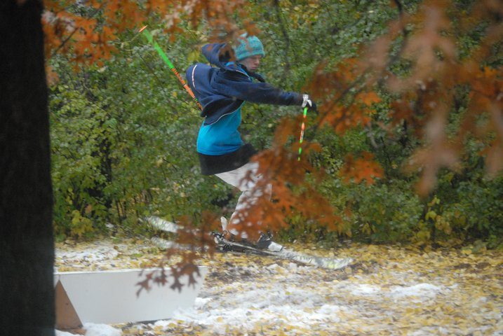 Fall skiing in Blake;s yard