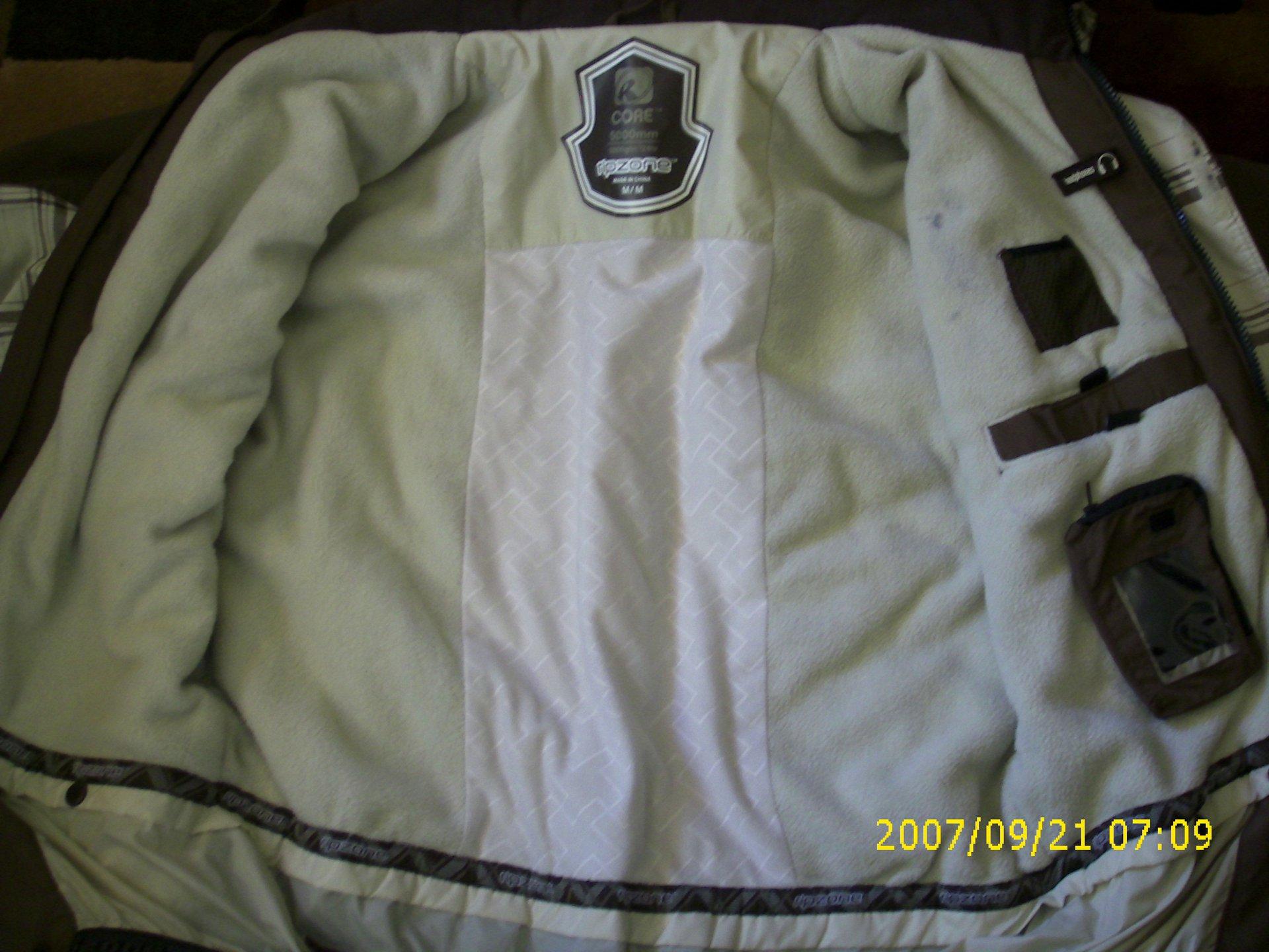Inside of ripzone jacket
