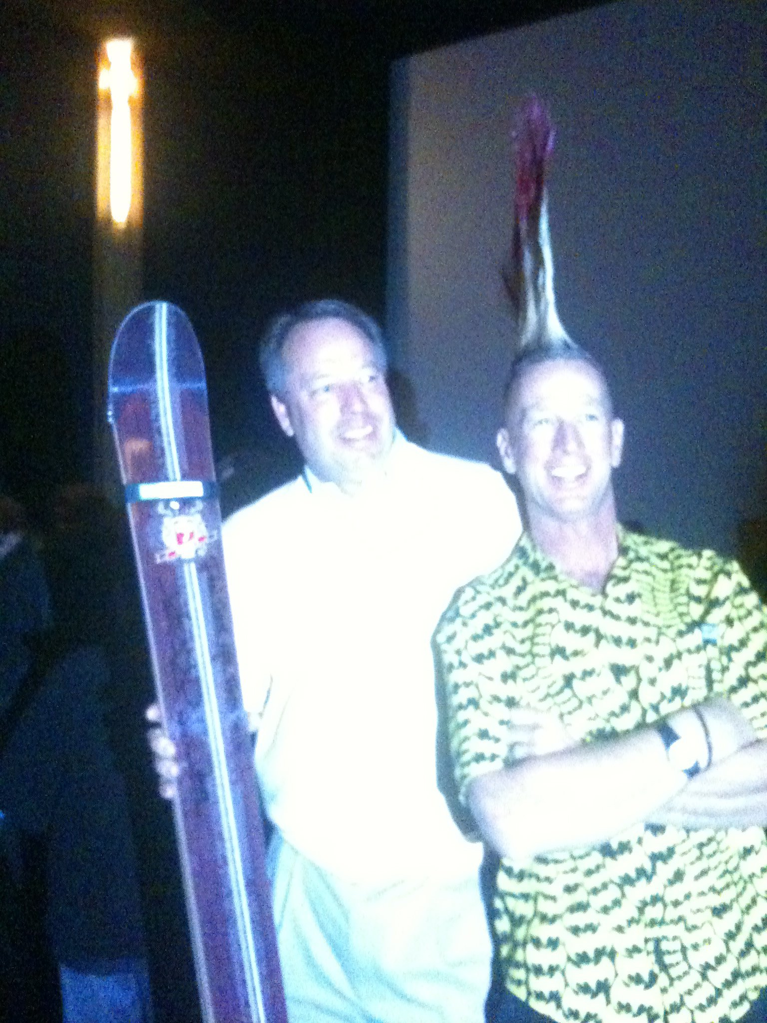 My dad and glen plake and the skis he won