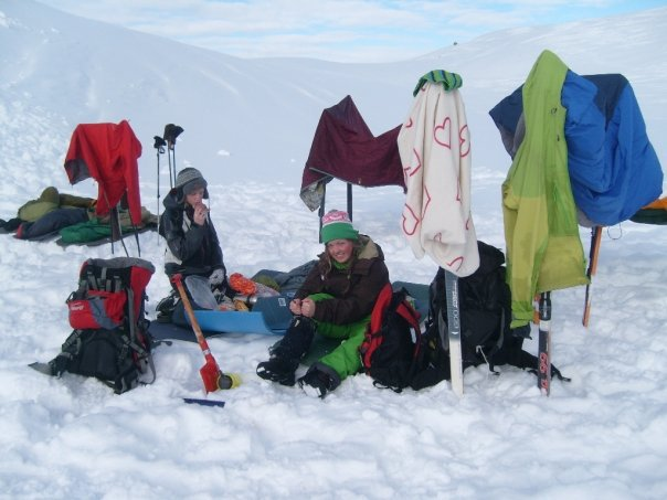 Drying clothes after a night in snow cave