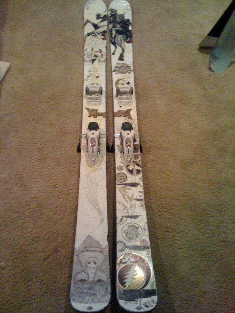 190cm K2 Hellbents with Marker Griffon bindings, custom