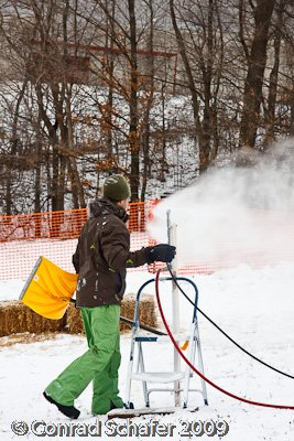 Making snow for Get Rad Rail Jam
