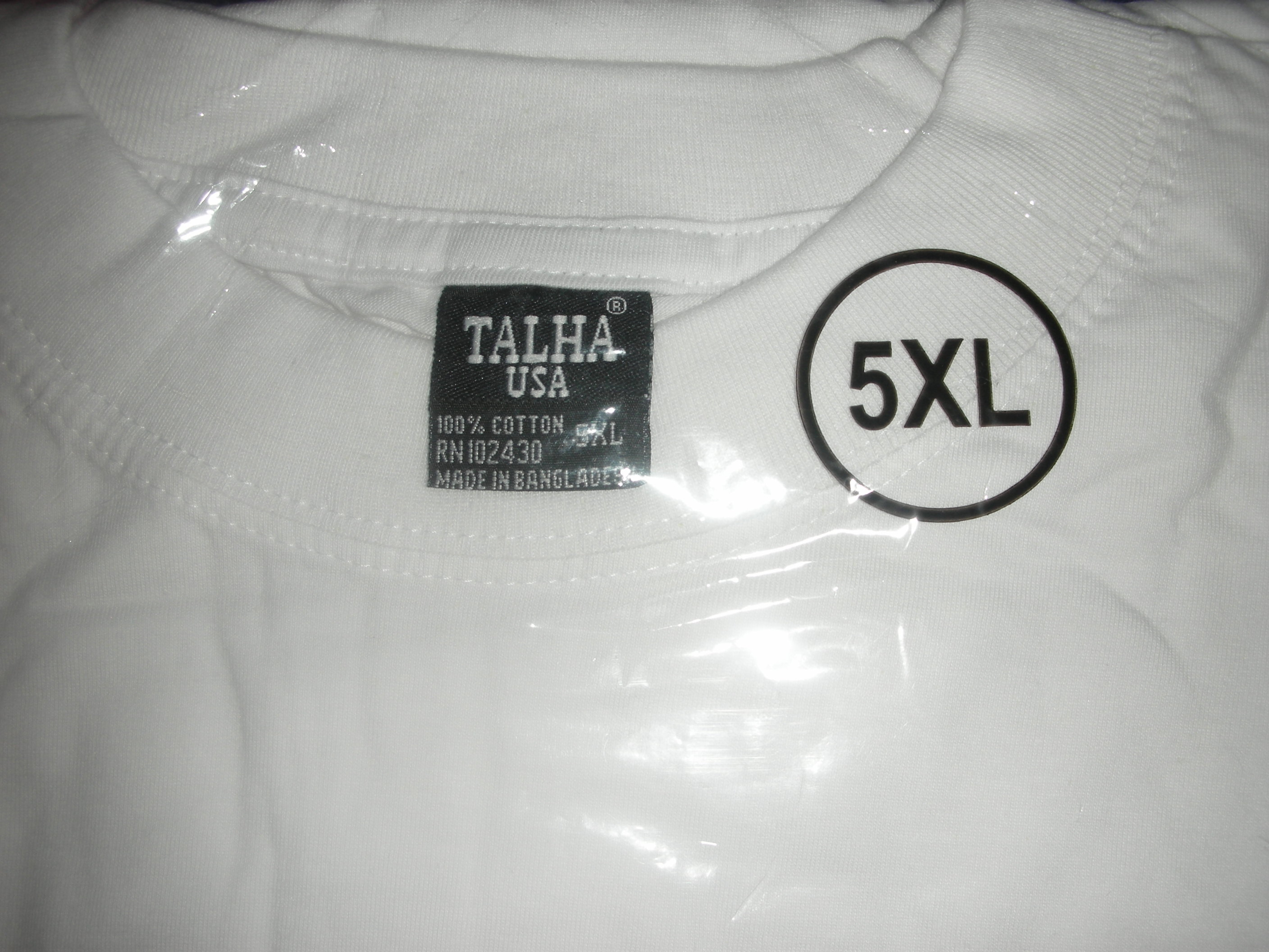 "White 5XL available (33"" in length)"