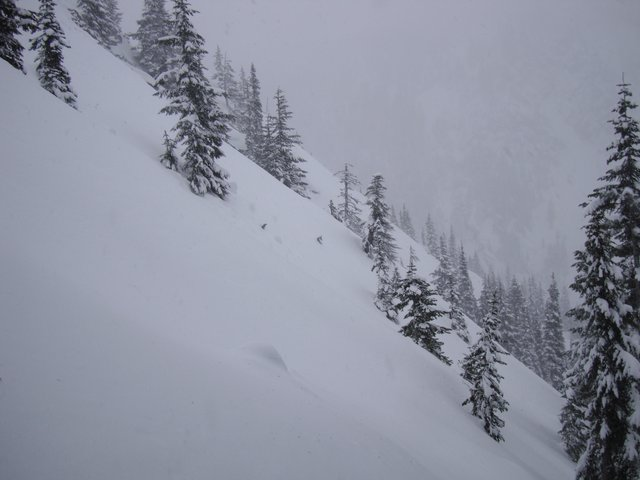 Red Mtn at Snoqualmie Pass, WA - about 5000ft, 800 from summit. 44º slope