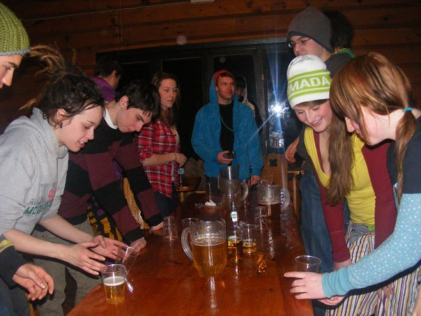 Flip cup after a good ski in QC
