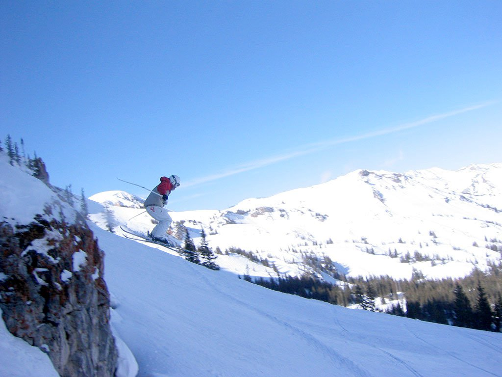 Jeff going off cliff at Alta