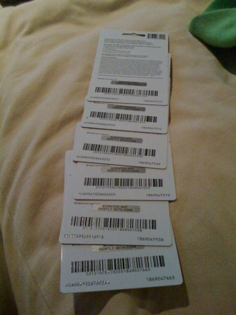 $150 iTunes Gift 3Card Unscratched (6 $25 cards)