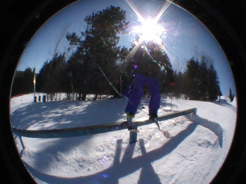 Jake on blue rail