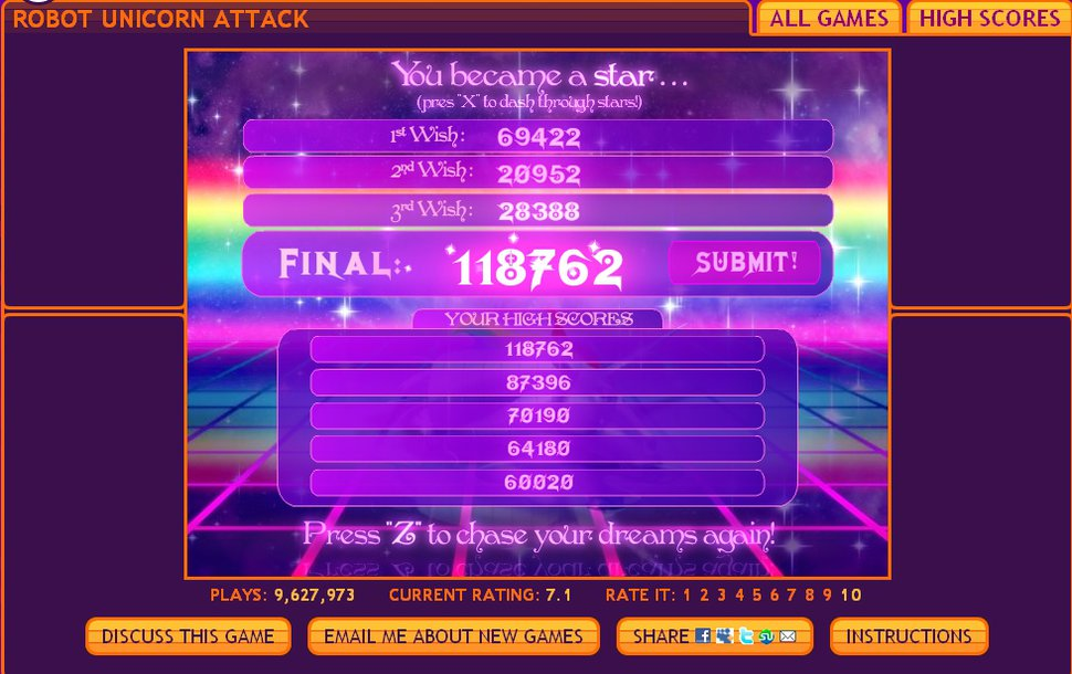 Robot Unicorn Attack High Score