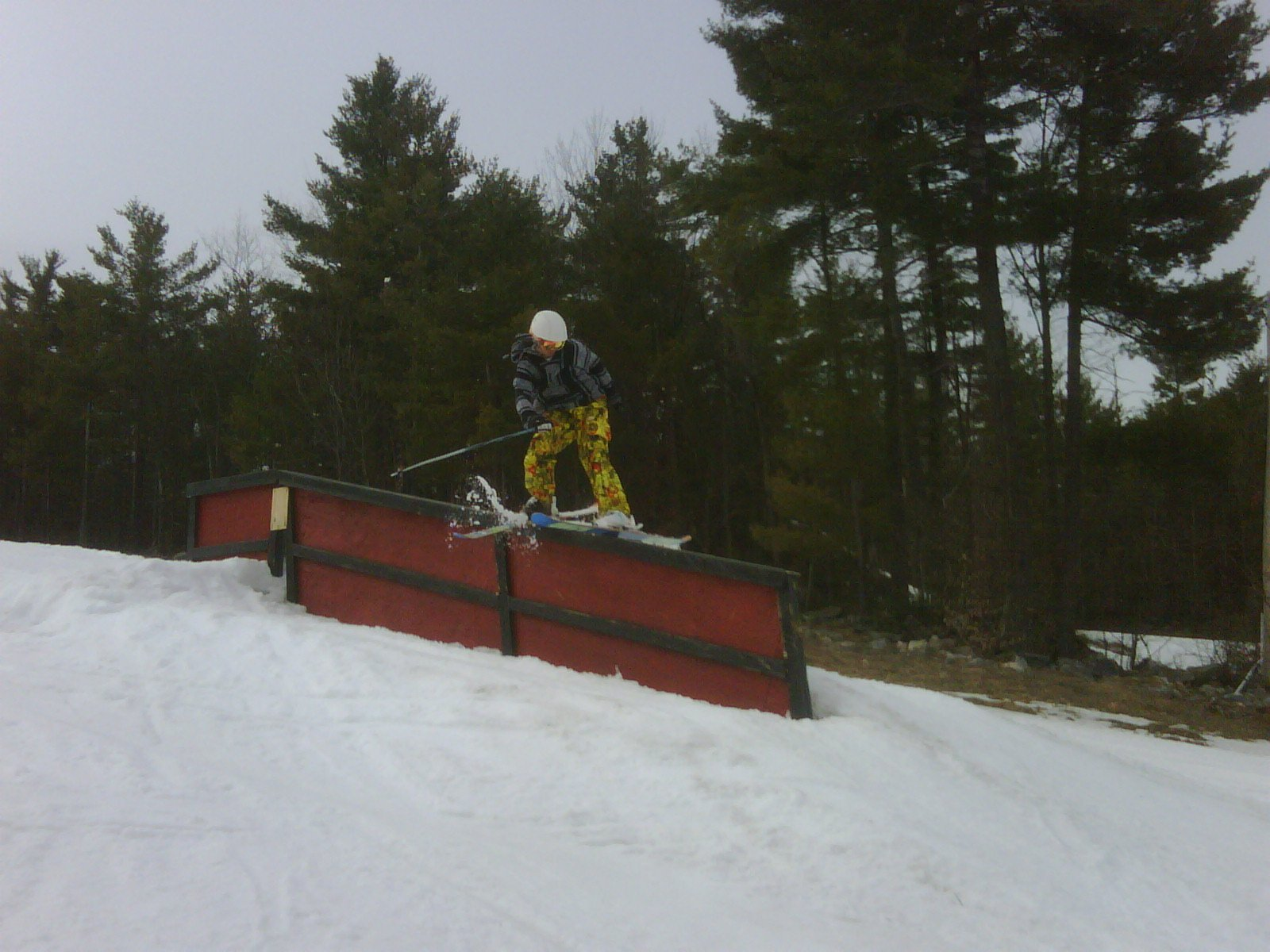 Spring skiing, doing the handrail