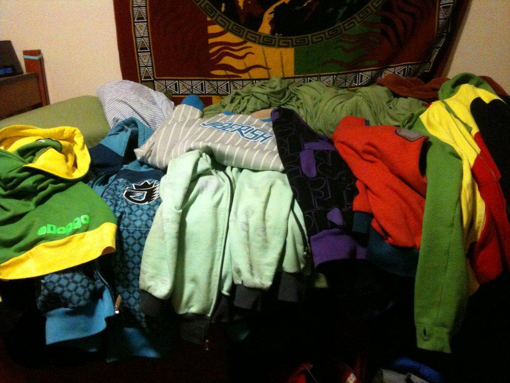 Lot of hoodies
