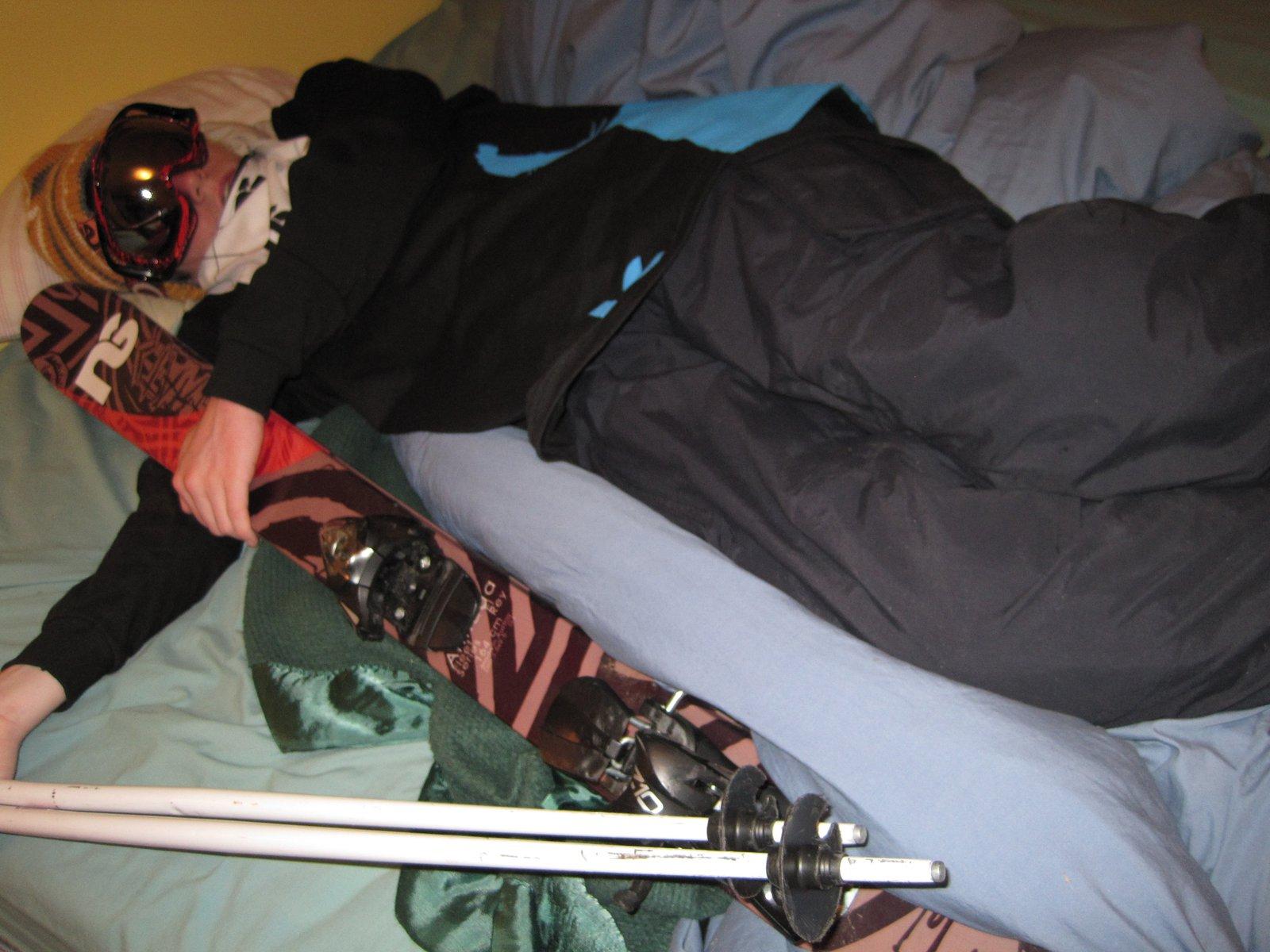 I prefer to be prepared When I ski in my sleep.