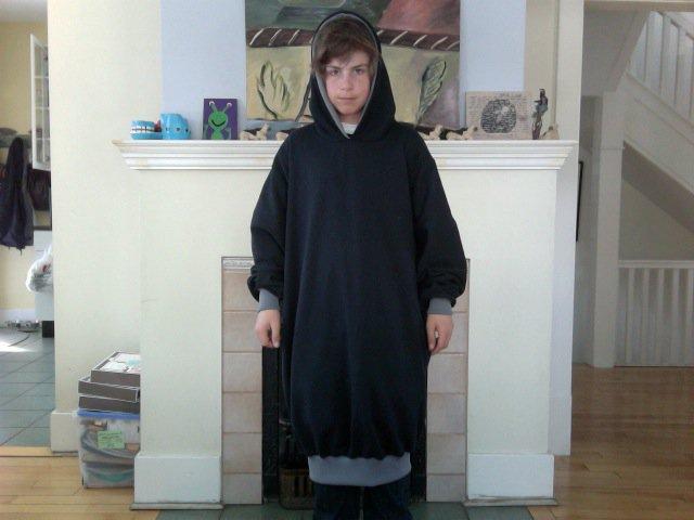 Black and grey hood