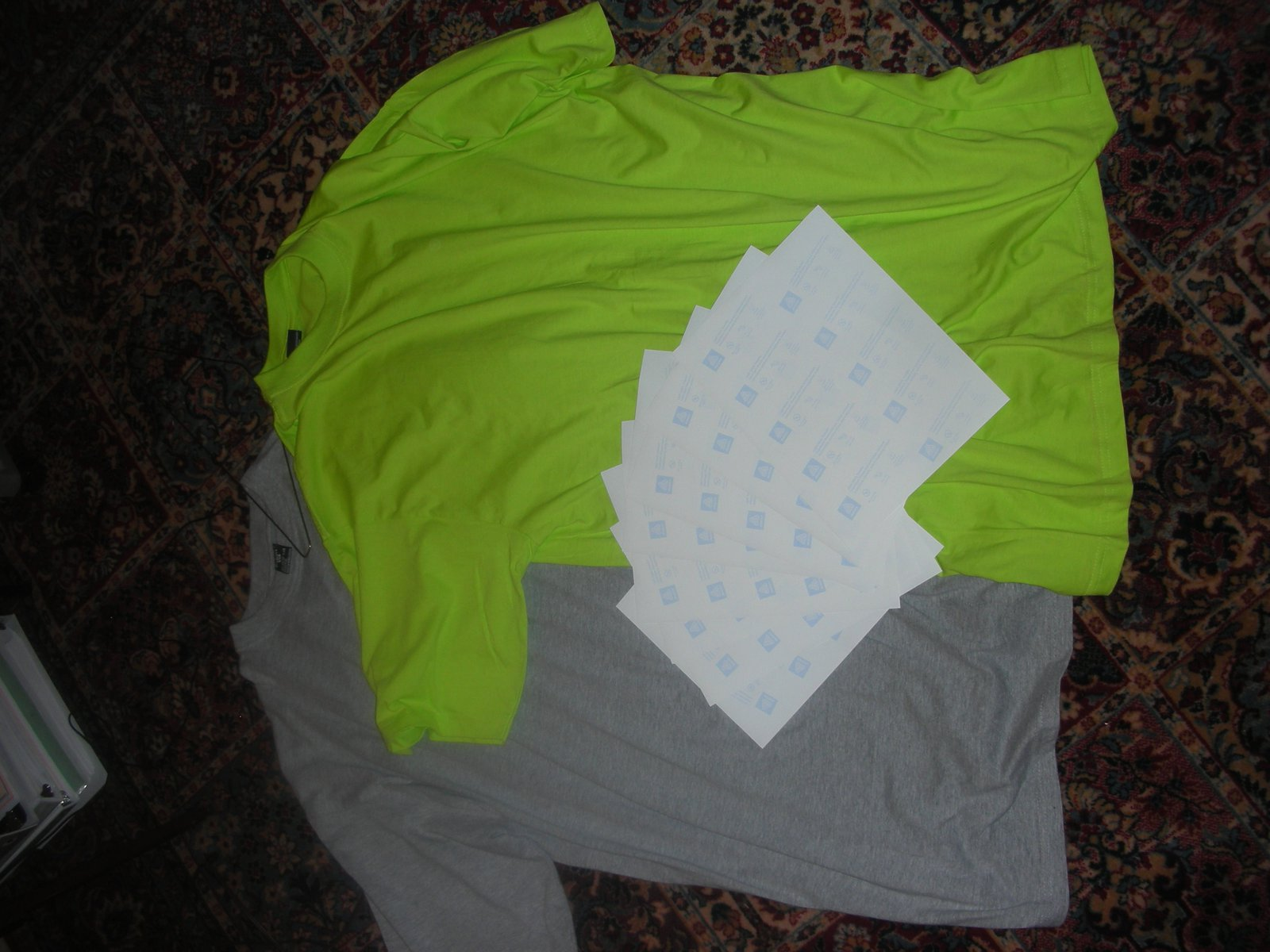 Grey and Green Neon Tall Tees For Sale w/ iron paper
