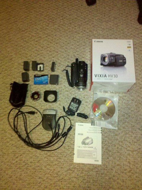 Canon HV30 Camera, Wide Angle Lens, Extras