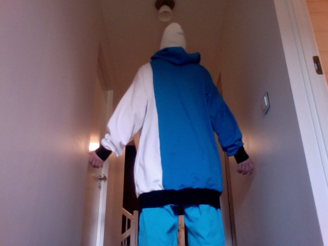 White - Blue Hoodie - back