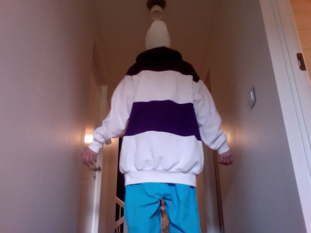 Purple - White hoodie - back