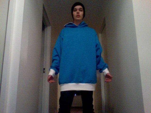 Blue - White hoodie