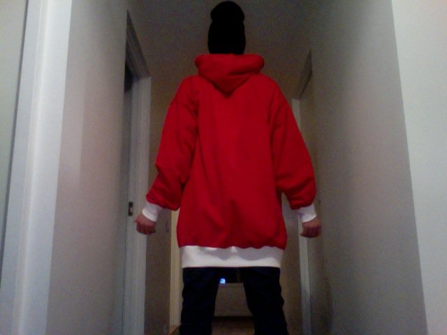 Red - White Hoodie - Back