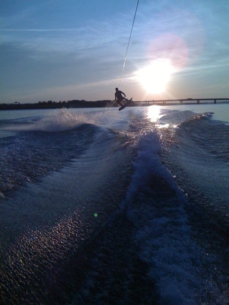 Late afternoon wakeboarding