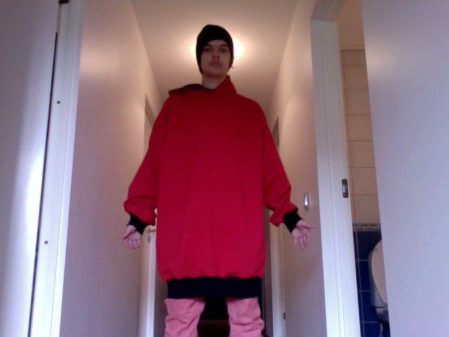 Red - Black hoodie