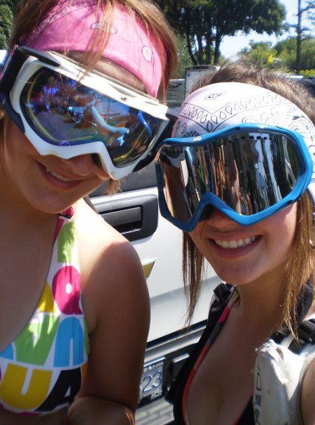Goggles in the summer- Just waitin' for the snow.