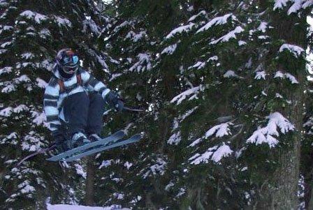 Skiing trees at squaw