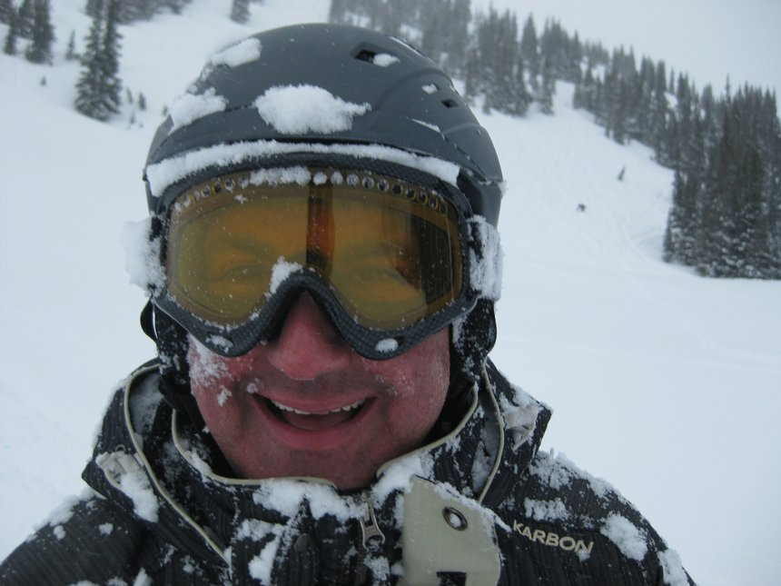 My Dad stoked on an epic pow day