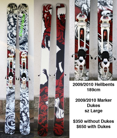 Hellbents for sale with Dukes...Skis are pending...but dukes are still up.