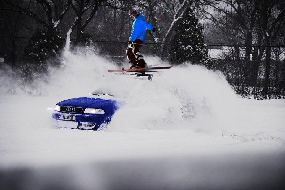 Skier Meets Car