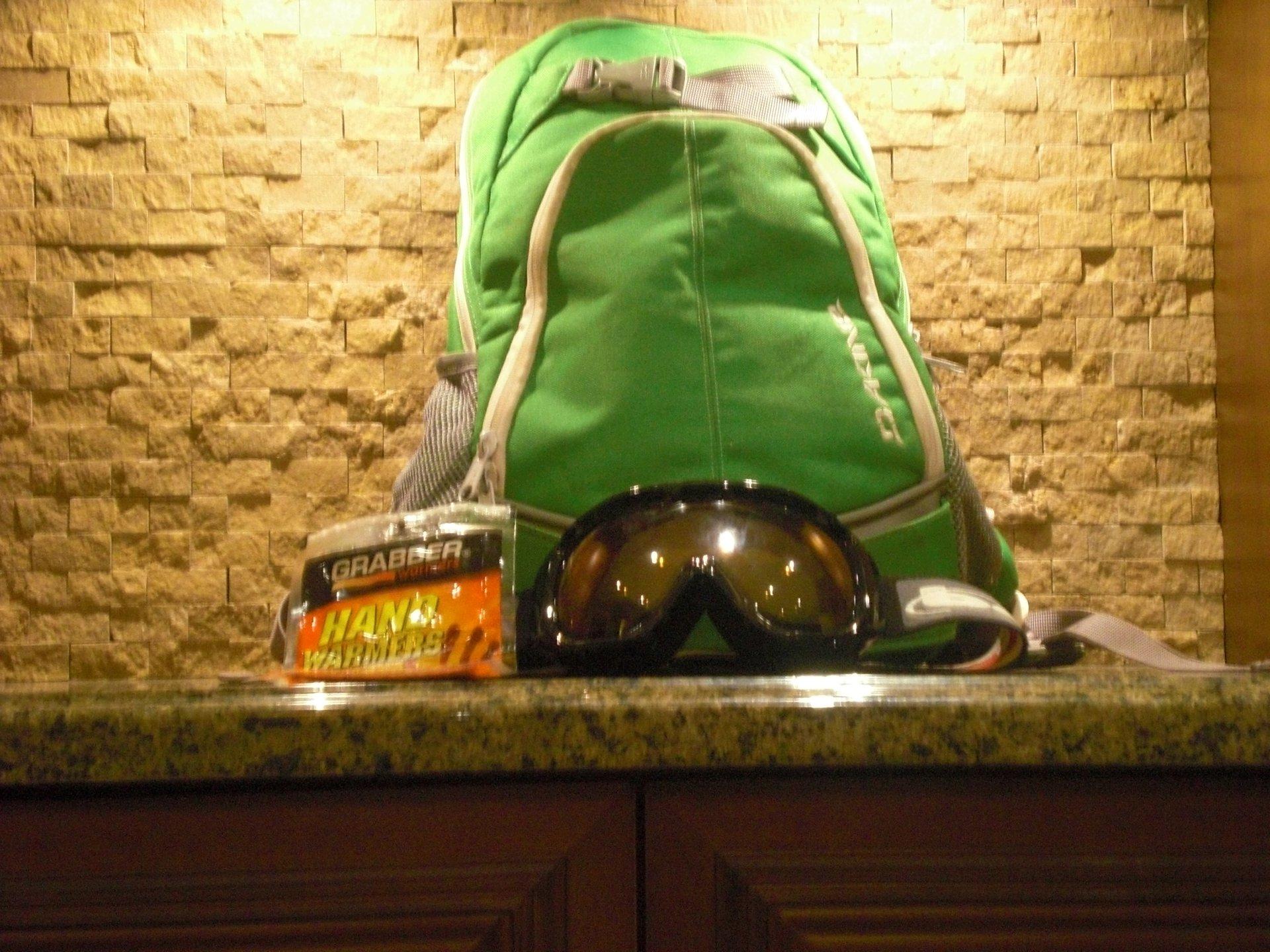 Dakine backpack , goggles, handwarmers