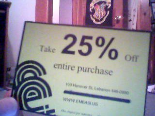 25% off purchase
