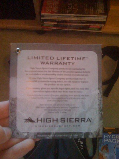 High sierra warranty paper
