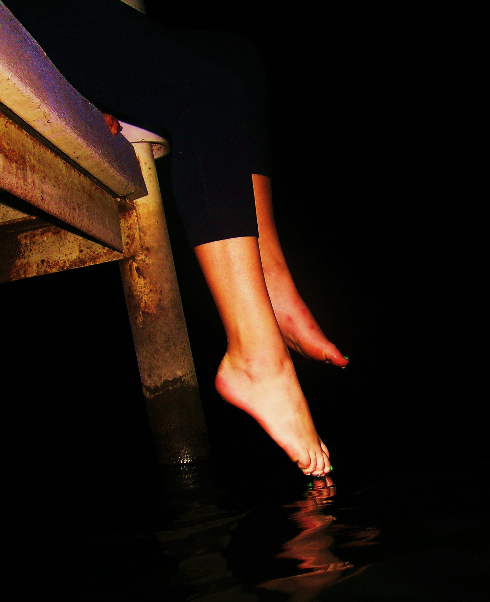 Feet off dock
