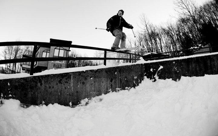 Skiing on metal