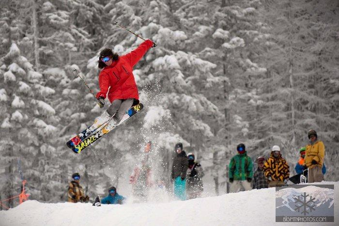 Park laps with pow skis