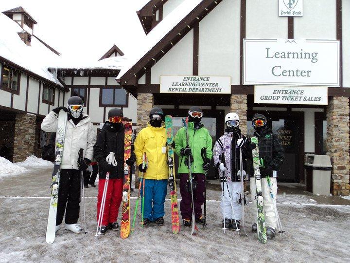 Skiers look like a bag of skittles