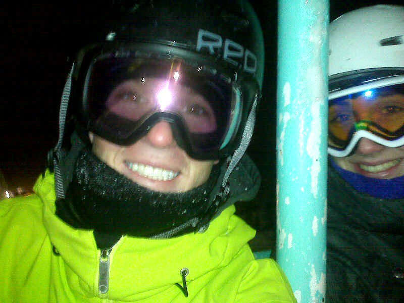 Night skiing's fun