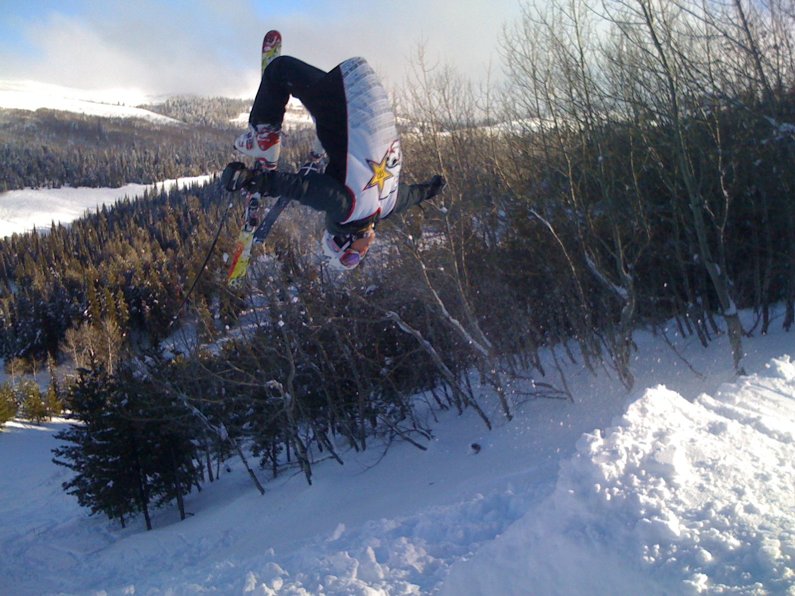 Losing both skis on backflip