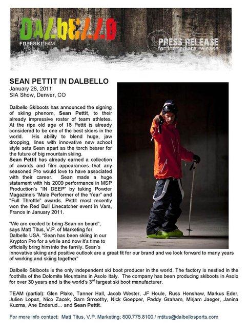 Sean Pettit in Dalbello