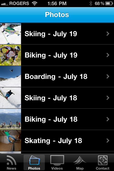 Photos Screen from The Camp of Champions IPhone Android App