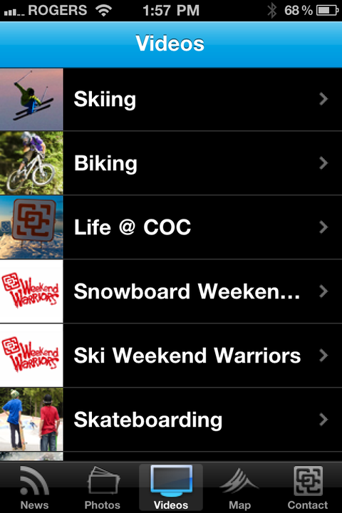 Screen Grab from the Camp of Champions App for Apple and Android Devices