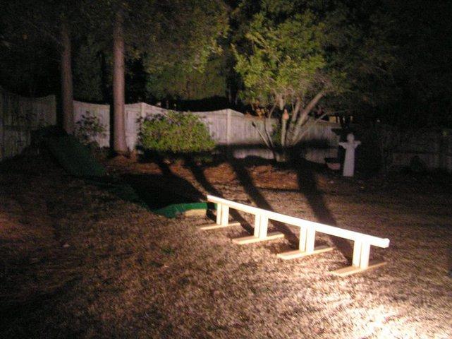 Backyard rail jib from a dog house dropin