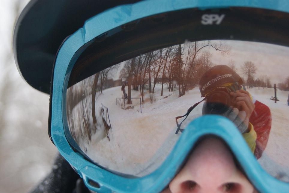 Goggle reflection urban shot