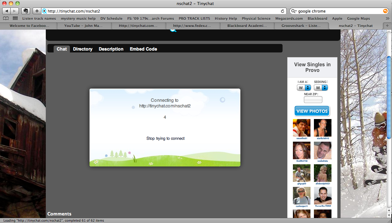 Screenshot of trying to use Tinychat